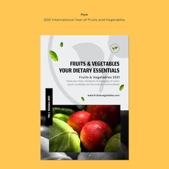 Plantilla de volante de año internacional de frutas y verduras