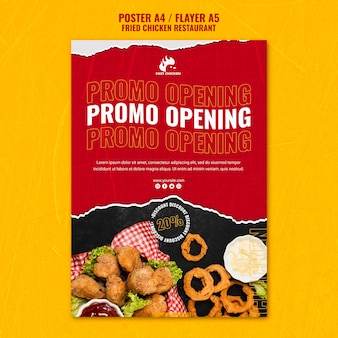 Plantilla de volante de apertura de promoción de pollo frito