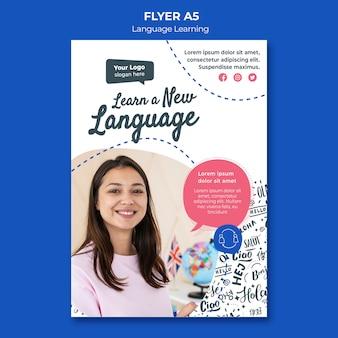 Plantilla de volante de aprendizaje de idiomas