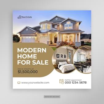 Plantilla de volante de banner de redes sociales de venta de casas modernas