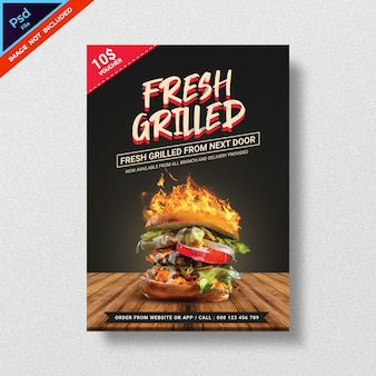 Plantilla de volante de comida estilo hamburguesa