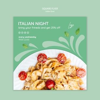 Plantilla de volante con comida italiana