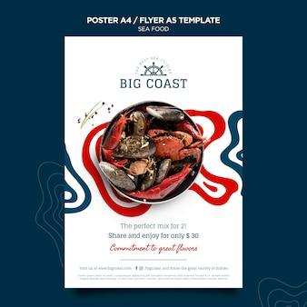 Plantilla de volante de comida de mar deliciosa