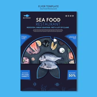 Plantilla de volante de concepto de comida de mar