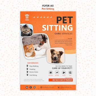 Plantilla de volante de concepto de cuidado de mascotas