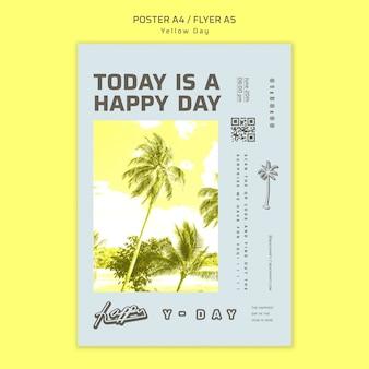 Plantilla de volante de concepto de día amarillo