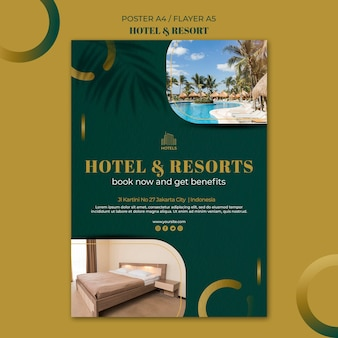 Plantilla de volante de concepto de hotel y resort