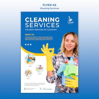 Plantilla de volante de concepto de servicio de limpieza