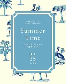 Plantilla de volante de concierto de verano psd con fondo tropical