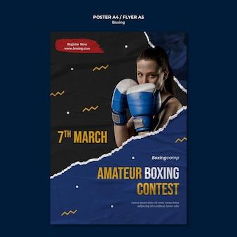 Plantilla de volante de concurso de boxeo