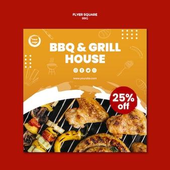 Plantilla de volante cuadrado bbq y grill house americano