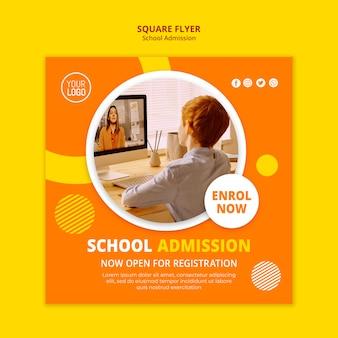 Plantilla de volante cuadrado de concepto de admisión escolar