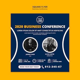 Plantilla de volante cuadrado de concepto de conferencia de negocios