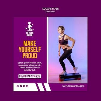 Plantilla de volante cuadrado de concepto de fitness en línea