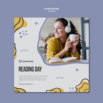 Plantilla de volante cuadrado de concepto de lectura