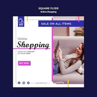 Plantilla de volante cuadrado de concepto en línea de compras