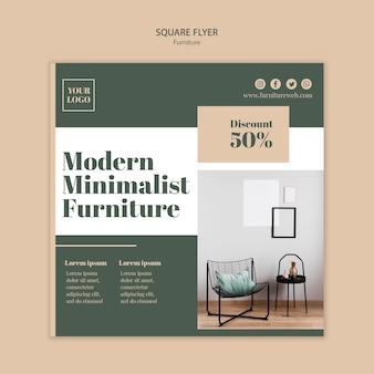 Plantilla de volante cuadrado de concepto de muebles