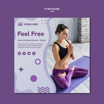 Plantilla de volante cuadrado de concepto de yoga