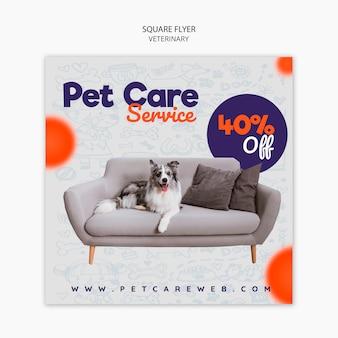 Plantilla de volante cuadrado para cuidado de mascotas con perro en el sofá
