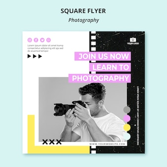 Plantilla de volante cuadrado de fotografía creativa con foto