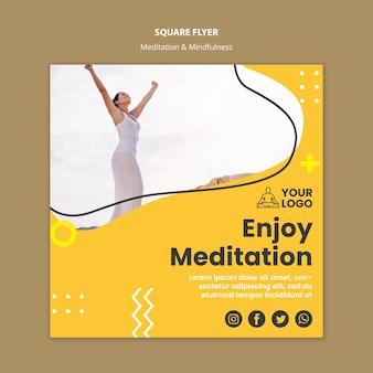 Plantilla de volante cuadrado meditación y atención plena