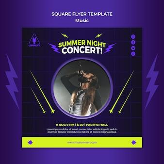 Plantilla de volante cuadrado de neón para concierto nocturno de verano