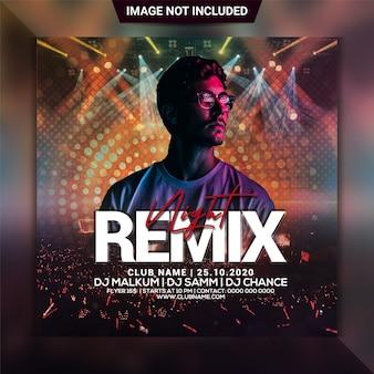 Plantilla de volante cuadrado remix night party flyer