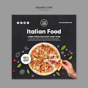 Plantilla de volante cuadrado de restaurante italiano