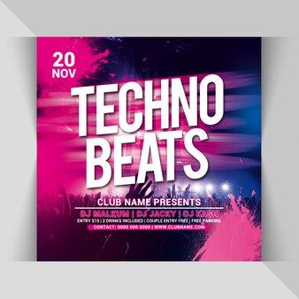 Plantilla de volante cuadrado techno beats party