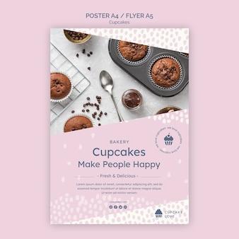 Plantilla de volante de deliciosos cupcakes