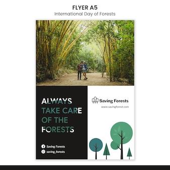 Plantilla de volante del día internacional de los bosques