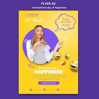 Plantilla de volante del día internacional de la felicidad