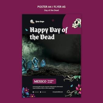 Plantilla de volante del día de muertos