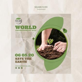Plantilla de volante del día mundial del medio ambiente con manos y planta