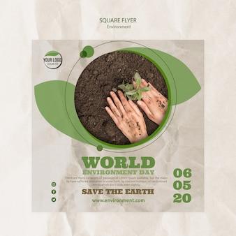 Plantilla de volante del día mundial del medio ambiente con plantas y suelo