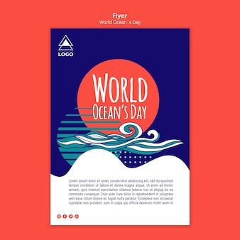 Plantilla de volante del día mundial del océano