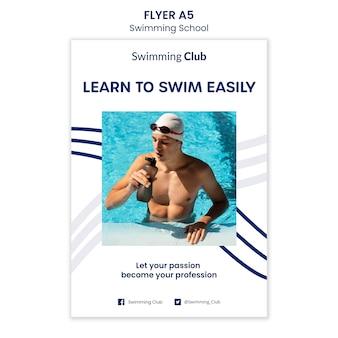 Plantilla de volante de escuela de natación