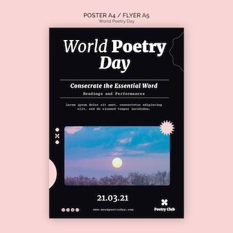 Plantilla de volante de evento del día mundial de la poesía