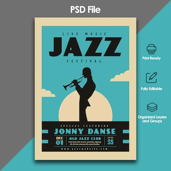 Plantilla de volante del festival de jazz