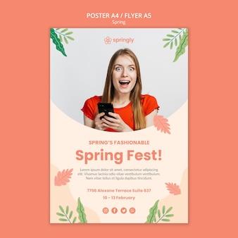 Plantilla de volante para el festival de primavera