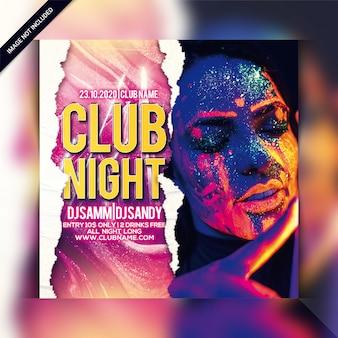 Plantilla de volante de fiesta de noche de club