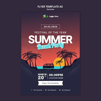 Plantilla de volante de fiesta de verano