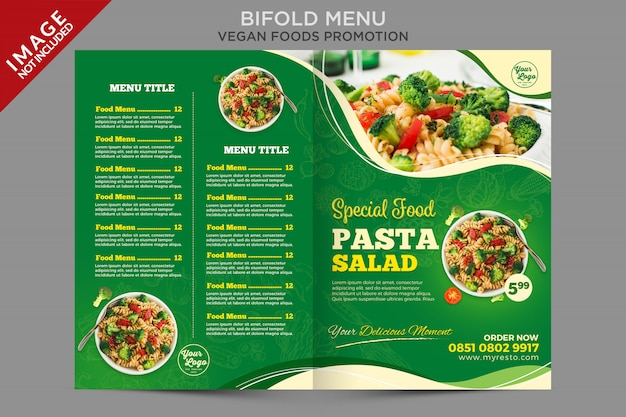 Plantilla de volante de folleto de menú plegable