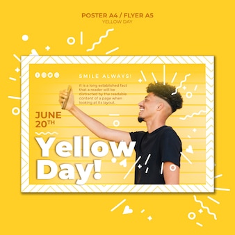 Plantilla de volante horizontal de día amarillo