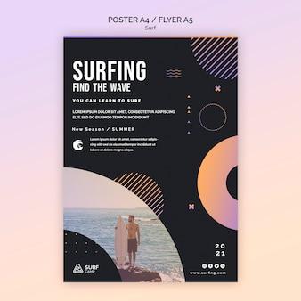 Plantilla de volante de lecciones de surf