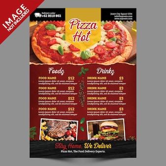 Plantilla de volante - menú de pizza