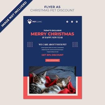 Plantilla de volante navideño para descuento en clínica de mascotas