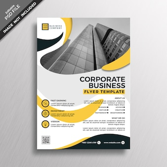 Plantilla de volante de negocio corporativo de estilo abstracto amarillo