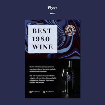 Plantilla de volante para el negocio del vino con botella