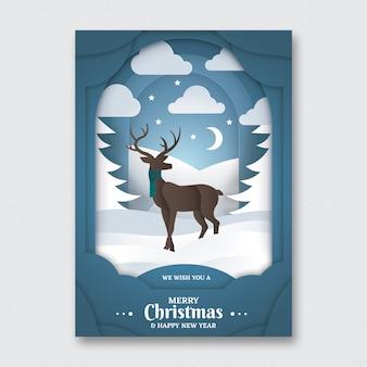 Plantilla de volante de papel arte navidad
